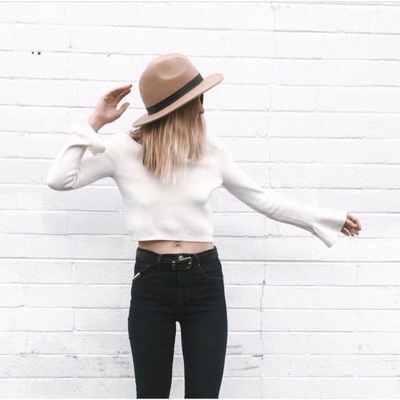 Sweaters - Cream Mock Neck Flare Sleeve Crop Sweater